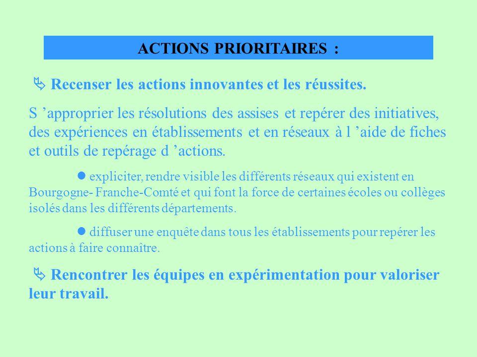ACTIONS PRIORITAIRES : Recenser les actions innovantes et les réussites. S approprier les résolutions des assises et repérer des initiatives, des expé
