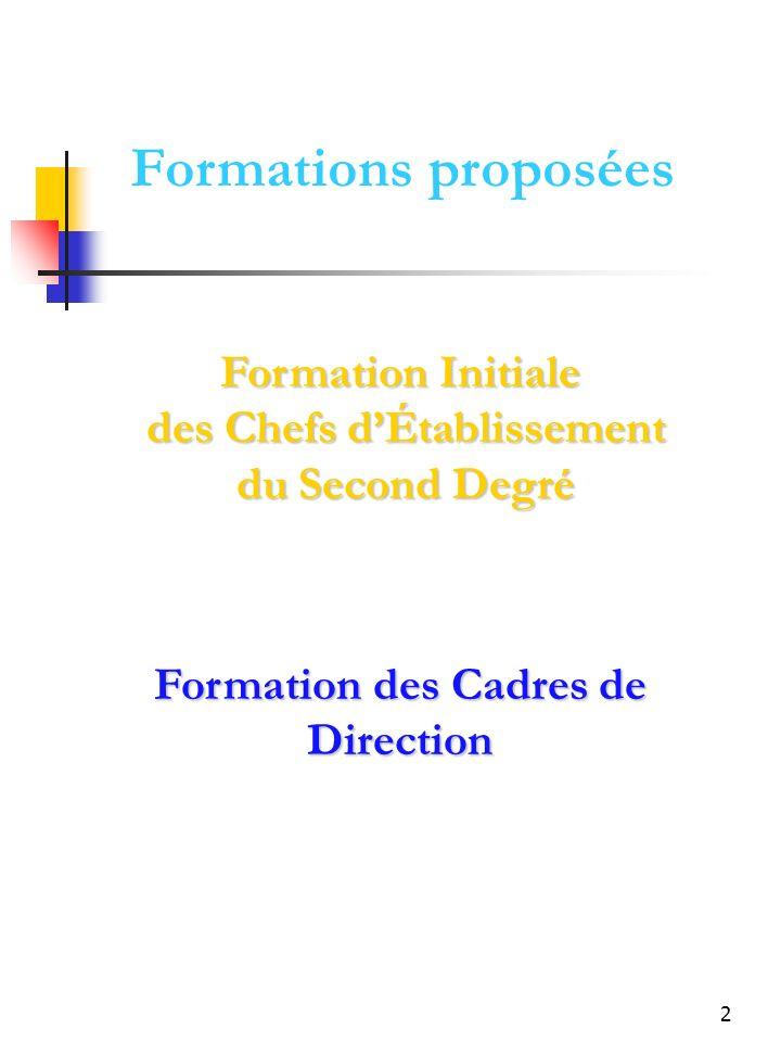 2 Formation Initiale des Chefs dÉtablissement du Second Degré Formation des Cadres de Direction Formations proposées
