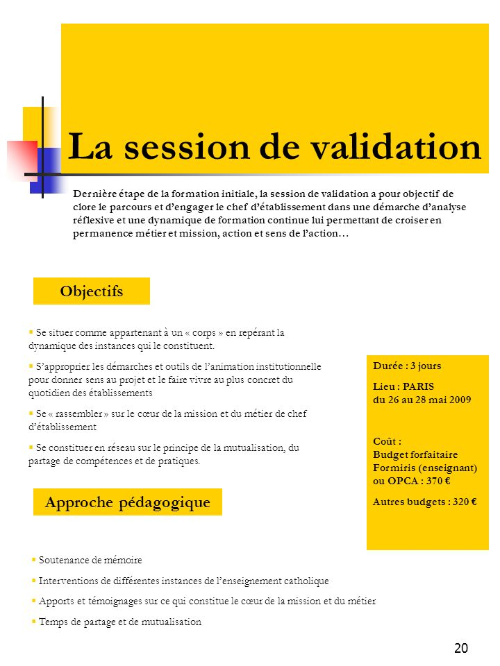 20 La session de validation Objectifs Se situer comme appartenant à un « corps » en repérant la dynamique des instances qui le constituent.