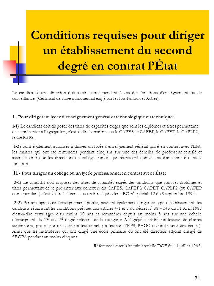 21 Conditions requises pour diriger un établissement du second degré en contrat lÉtat Le candidat à une direction doit avoir exercé pendant 5 ans des fonctions denseignement ou de surveillance.