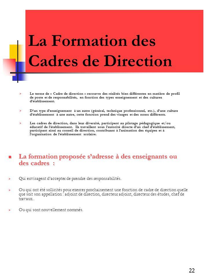 22 La Formation des Cadres de Direction Le terme de « Cadre de direction » recouvre des réalités bien différentes en matière de profil de poste et de responsabilités, en fonction des types enseignement et des cultures détablissement.