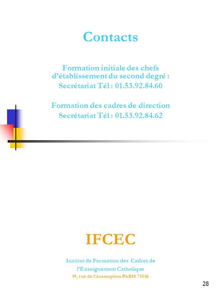 28 Contacts Formation initiale des chefs détablissement du second degré : Secrétariat Tél : 01.53.92.84.60 Formation des cadres de direction Secrétariat Tél : 01.53.92.84.62 Institut de Formation des Cadres de lEnseignement Catholique 19, rue de lAssomption PARIS 75016 IFCEC