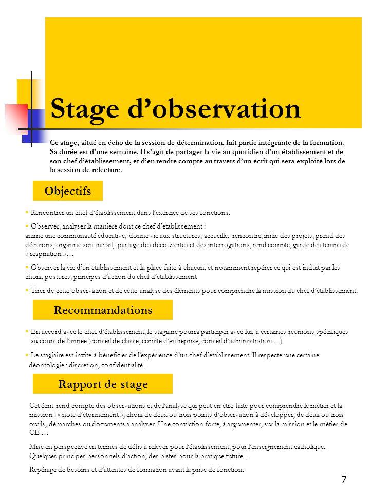 7 Stage dobservation Objectifs Recommandations Rapport de stage Ce stage, situé en écho de la session de détermination, fait partie intégrante de la formation.