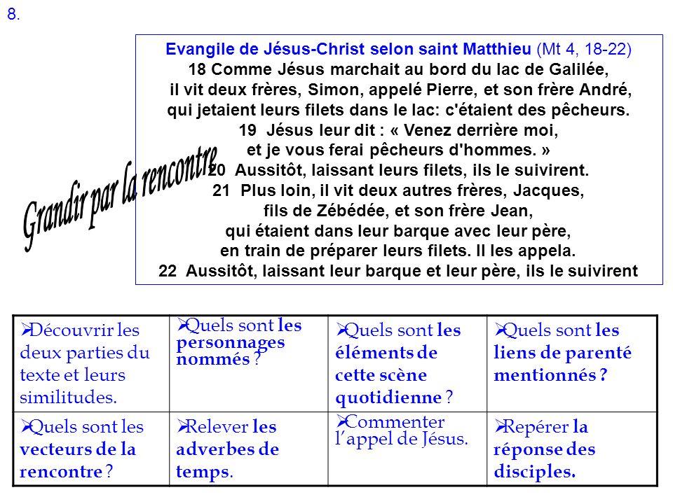 Evangile de Jésus-Christ selon saint Matthieu (Mt 4, 18-22) 18 Comme Jésus marchait au bord du lac de Galilée, il vit deux frères, Simon, appelé Pierr