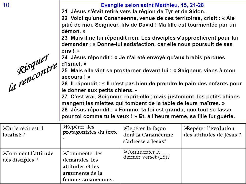 Evangile selon saint Matthieu, 15, 21-28 21 Jésus s'était retiré vers la région de Tyr et de Sidon. 22 Voici qu'une Cananéenne, venue de ces territoir