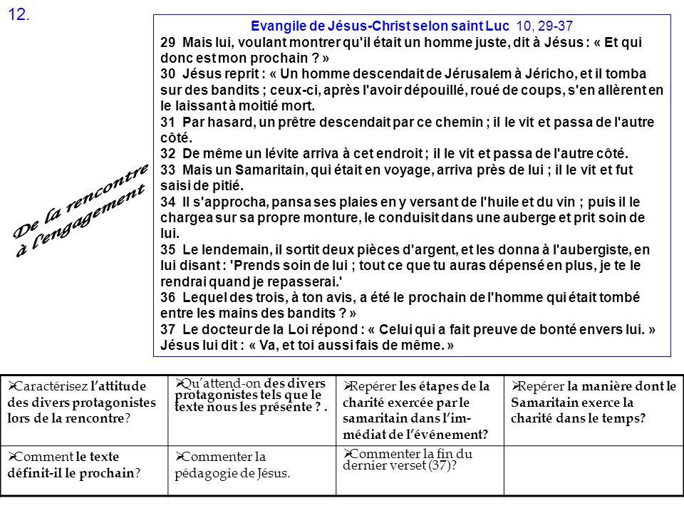 Evangile de Jésus-Christ selon saint Luc 10, 29-37 29 Mais lui, voulant montrer qu'il était un homme juste, dit à Jésus : « Et qui donc est mon procha