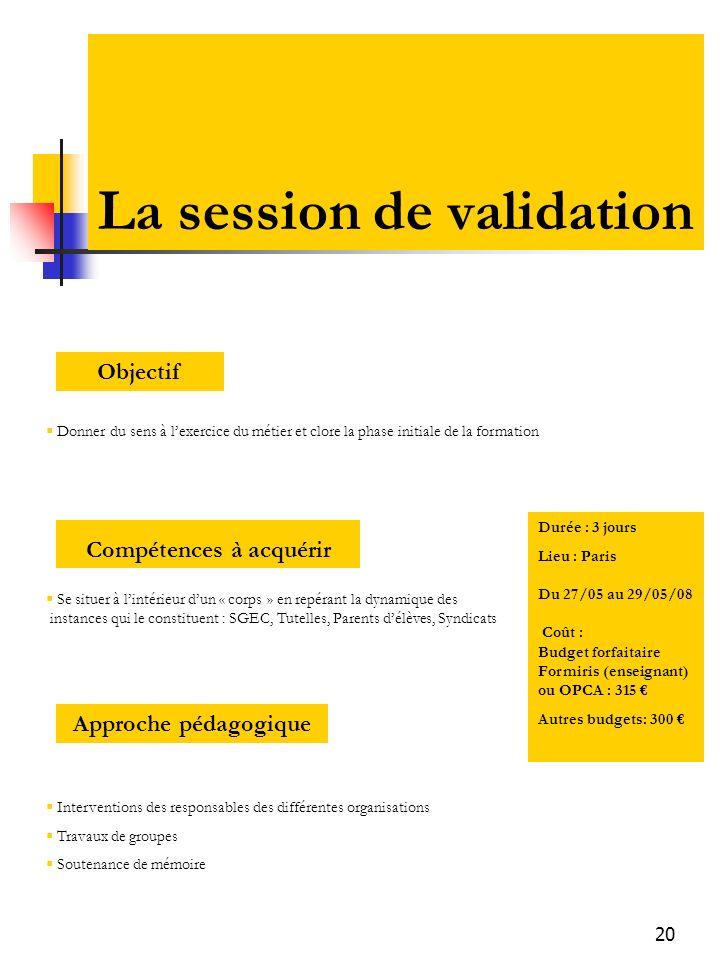 20 La session de validation Donner du sens à lexercice du métier et clore la phase initiale de la formation Objectif Se situer à lintérieur dun « corp