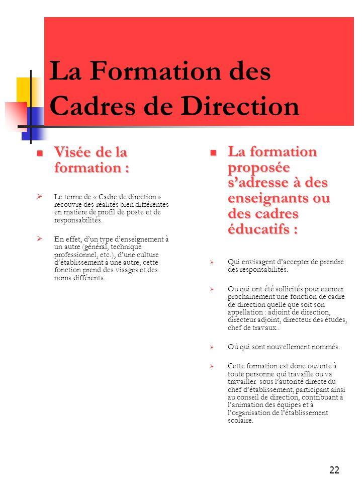 22 La Formation des Cadres de Direction Visée de la formation : Visée de la formation : Le terme de « Cadre de direction » recouvre des réalités bien