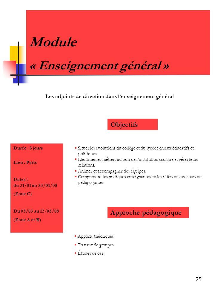 25 Module « Enseignement général » Objectifs Situer les évolutions du collège et du lycée : enjeux éducatifs et politiques. Identifier les métiers au