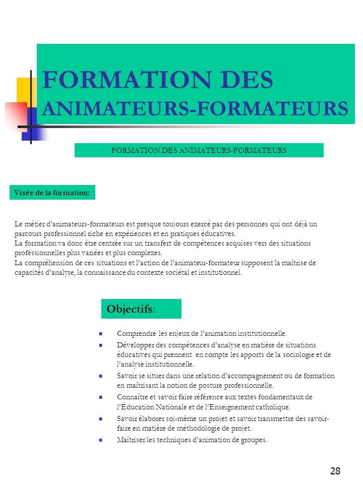 28 FORMATION DES ANIMATEURS-FORMATEURS Comprendre les enjeux de lanimation institutionnelle. Développer des compétences danalyse en matière de situati