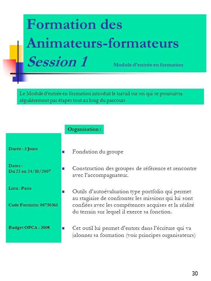 30 Formation des Animateurs-formateurs Session 1 Module dentrée en formation Fondation du groupe Construction des groupes de référence et rencontre av