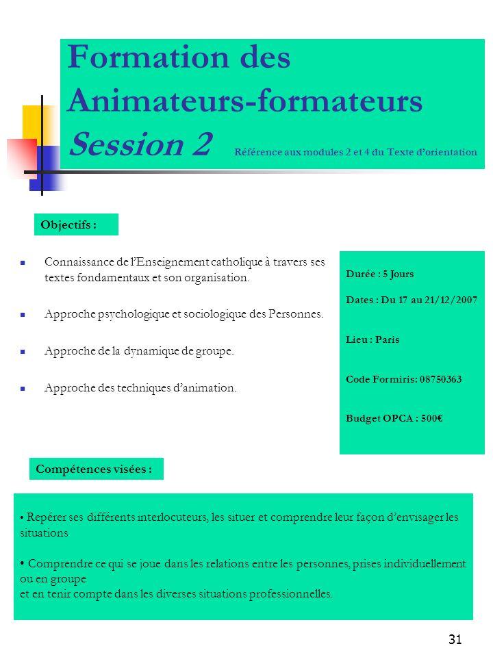 31 Formation des Animateurs-formateurs Session 2 Référence aux modules 2 et 4 du Texte dorientation Connaissance de lEnseignement catholique à travers