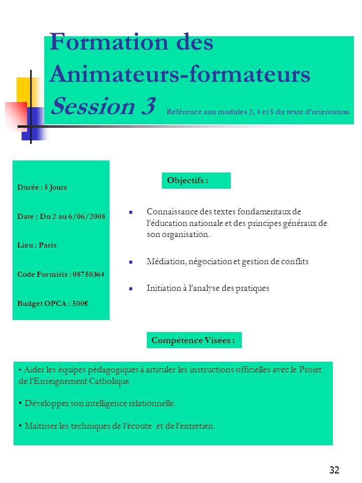 32 Formation des Animateurs-formateurs Session 3 Référence aux modules 2, 4 et 5 du texte dorientation Connaissance des textes fondamentaux de léducat