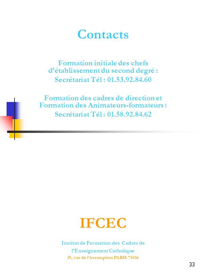 33 Contacts Formation initiale des chefs détablissement du second degré : Secrétariat Tél : 01.53.92.84.60 Formation des cadres de direction et Format