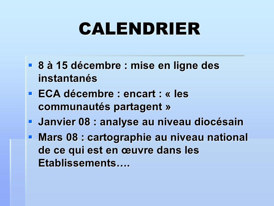 CALENDRIER 8 à 15 décembre : mise en ligne des instantanés 8 à 15 décembre : mise en ligne des instantanés ECA décembre : encart : « les communautés partagent » ECA décembre : encart : « les communautés partagent » Janvier 08 : analyse au niveau diocésain Janvier 08 : analyse au niveau diocésain Mars 08 : cartographie au niveau national de ce qui est en œuvre dans les Etablissements….