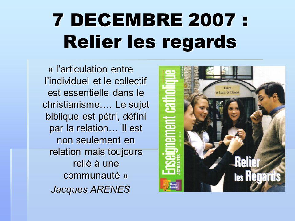 7 DECEMBRE 2007 : Relier les regards « larticulation entre lindividuel et le collectif est essentielle dans le christianisme….