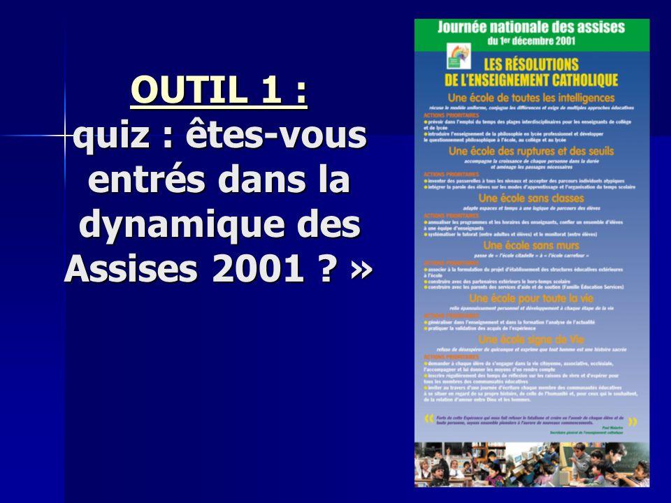 OUTIL 1 : OUTIL 1 : quiz : êtes-vous entrés dans la dynamique des Assises 2001 » OUTIL 1 :
