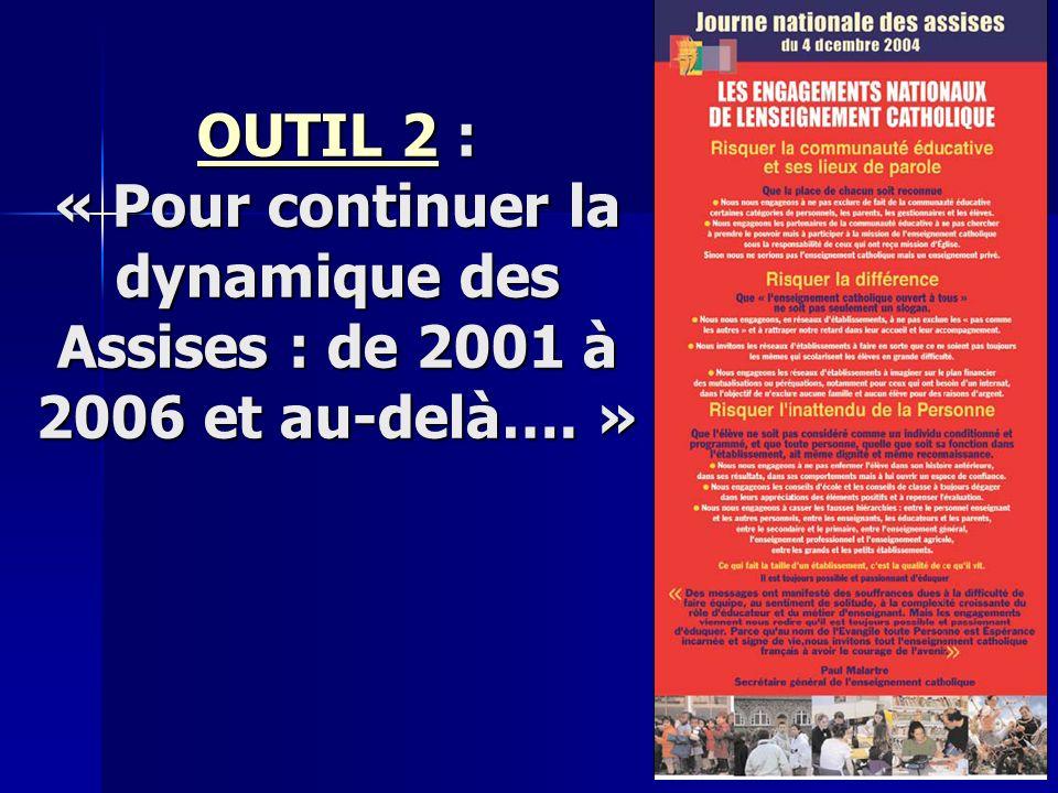 OUTIL 2OUTIL 2 : « Pour continuer la dynamique des Assises : de 2001 à 2006 et au-delà…. » OUTIL 2
