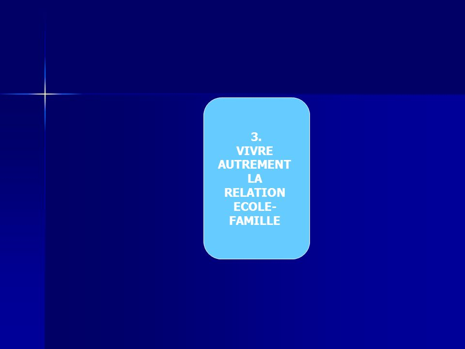 3. VIVRE AUTREMENT LA RELATION ECOLE- FAMILLE