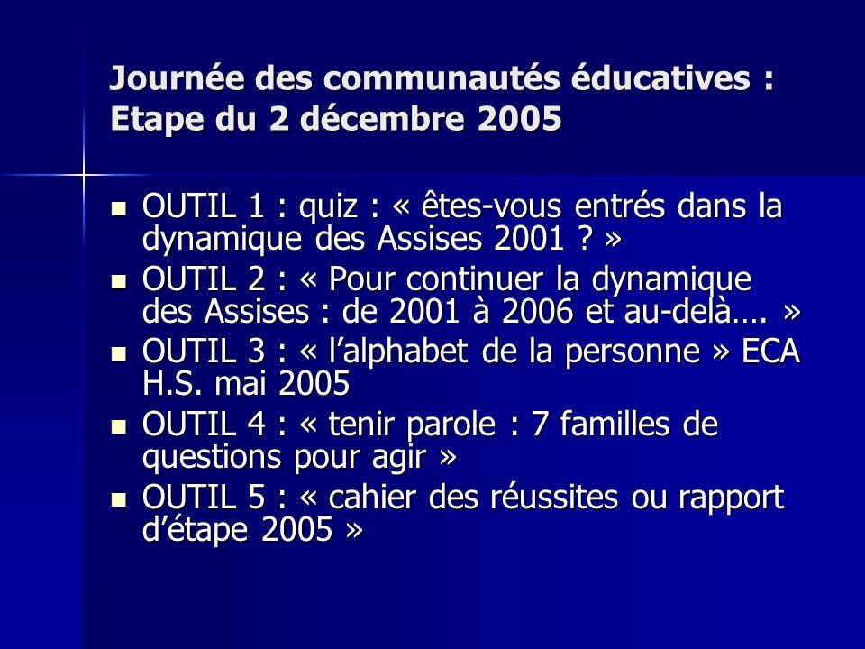 Journée des communautés éducatives : Etape du 2 décembre 2005 OUTIL 1 : quiz : « êtes-vous entrés dans la dynamique des Assises 2001 .