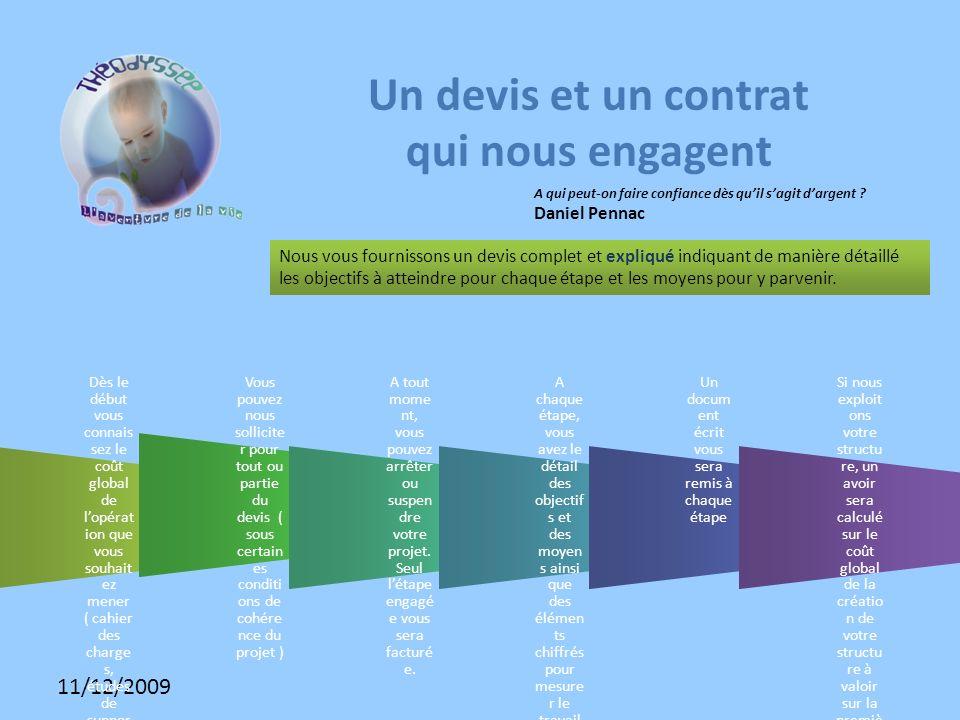 11/12/2009 Un devis et un contrat qui nous engagent Nous vous fournissons un devis complet et expliqué indiquant de manière détaillé les objectifs à atteindre pour chaque étape et les moyens pour y parvenir.