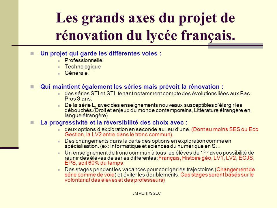JM PETIT/SGEC Les grands axes du projet de rénovation du lycée français. Un projet qui garde les différentes voies : Professionnelle. Technologique Gé