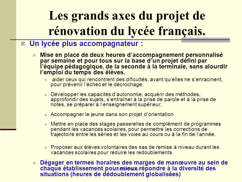 JM PETIT/SGEC Les grands axes du projet de rénovation du lycée français. Un lycée plus accompagnateur : Mise en place de deux heures daccompagnement p