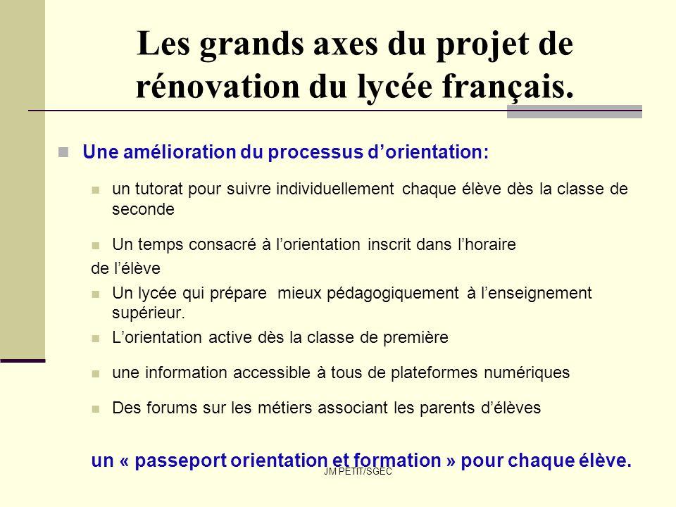 JM PETIT/SGEC Les grands axes du projet de rénovation du lycée français. Une amélioration du processus dorientation: un tutorat pour suivre individuel