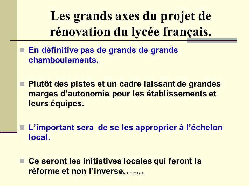 JM PETIT/SGEC Les grands axes du projet de rénovation du lycée français. En définitive pas de grands de grands chamboulements. Plutôt des pistes et un
