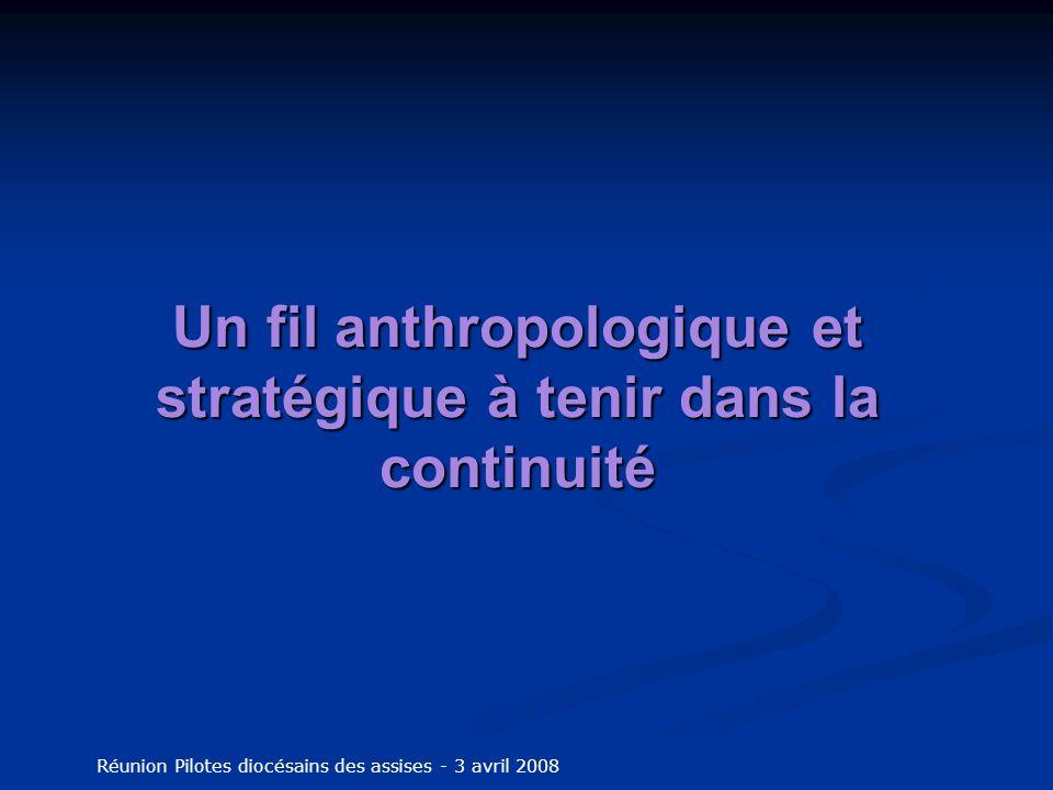 Un fil anthropologique et stratégique à tenir dans la continuité Réunion Pilotes diocésains des assises - 3 avril 2008