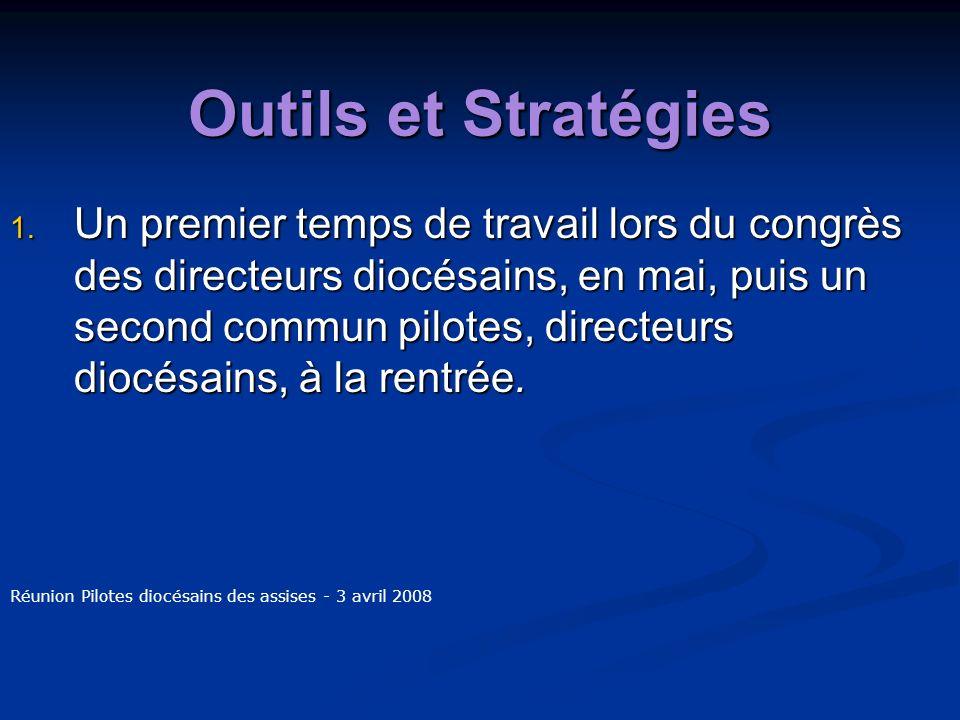 Outils et Stratégies 1. Un premier temps de travail lors du congrès des directeurs diocésains, en mai, puis un second commun pilotes, directeurs diocé