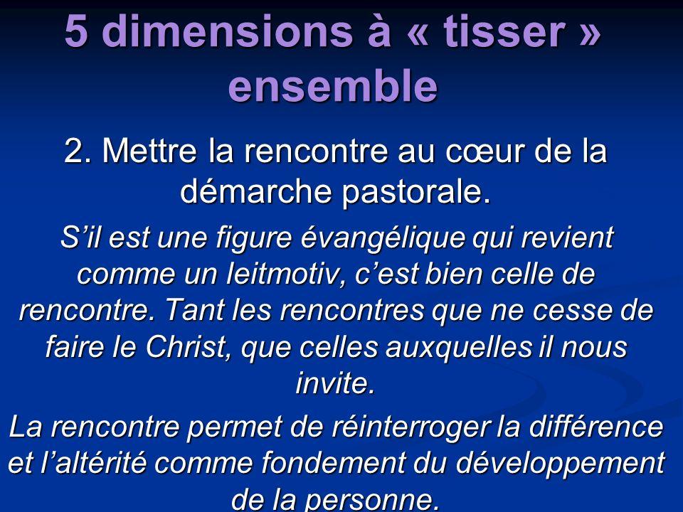 5 dimensions à « tisser » ensemble 2. Mettre la rencontre au cœur de la démarche pastorale. Sil est une figure évangélique qui revient comme un leitmo