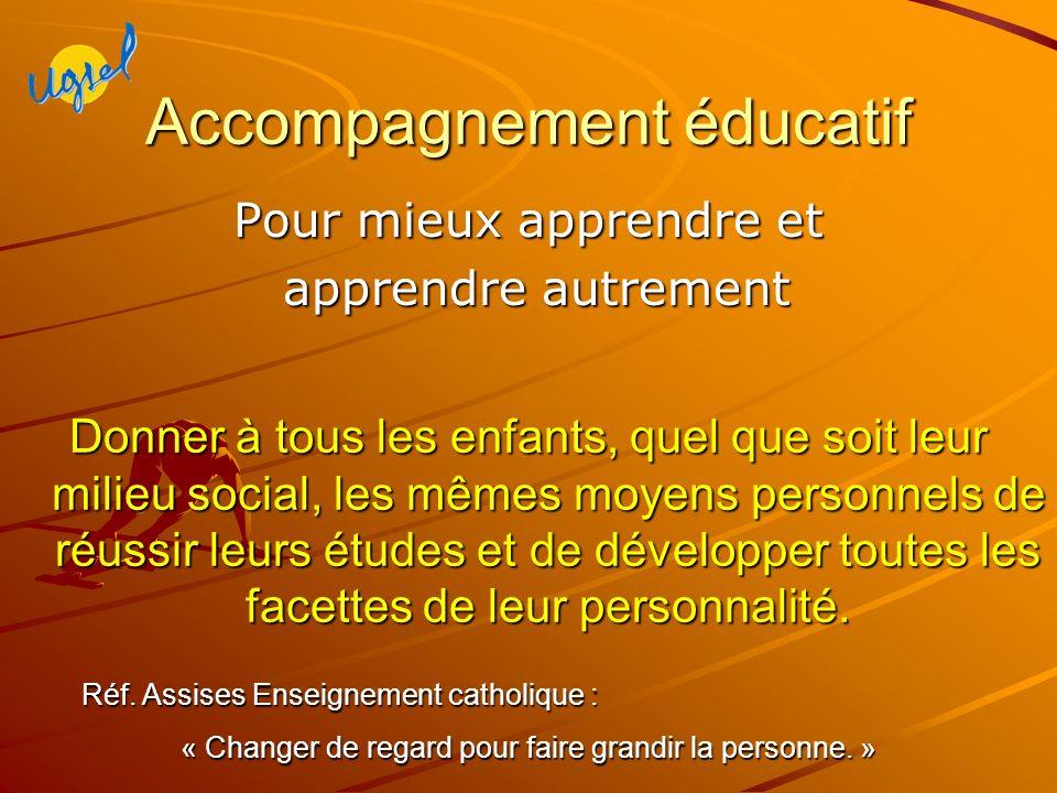 Accompagnement éducatif Pour mieux apprendre et apprendre autrement apprendre autrement Donner à tous les enfants, quel que soit leur milieu social, les mêmes moyens personnels de réussir leurs études et de développer toutes les facettes de leur personnalité.