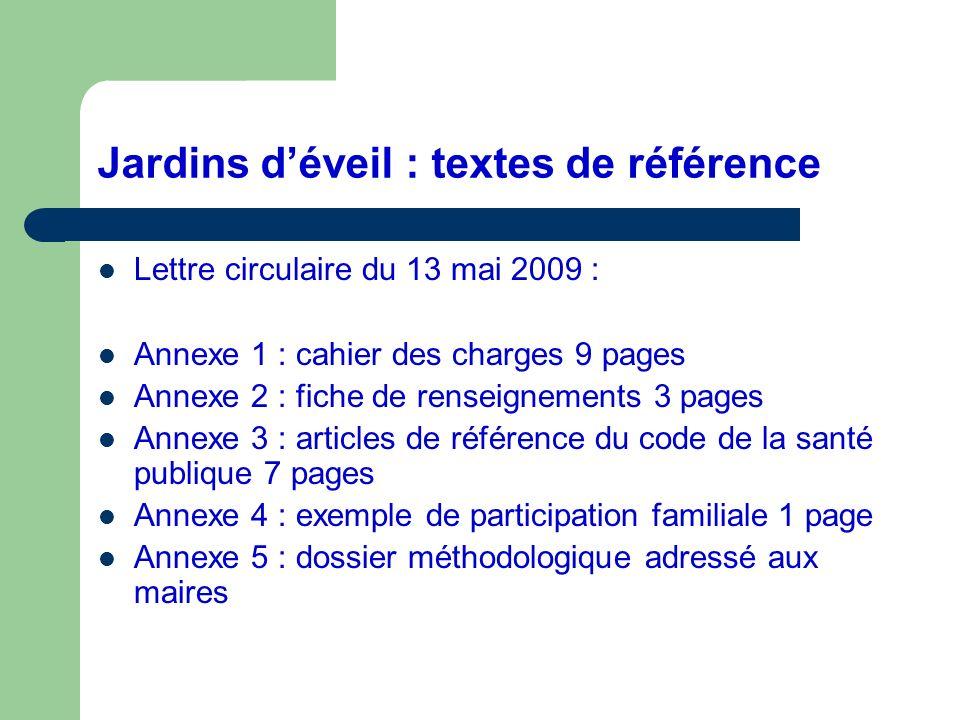 Jardins déveil : textes de référence Lettre circulaire du 13 mai 2009 : Annexe 1 : cahier des charges 9 pages Annexe 2 : fiche de renseignements 3 pag