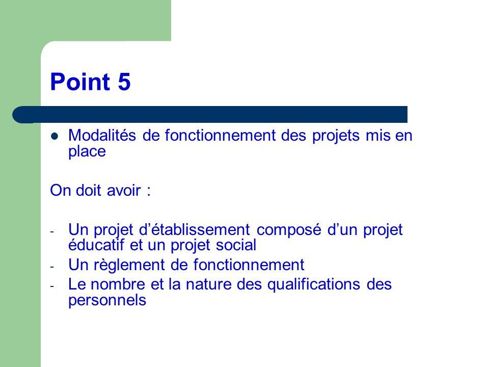 Point 5 Modalités de fonctionnement des projets mis en place On doit avoir : - Un projet détablissement composé dun projet éducatif et un projet socia