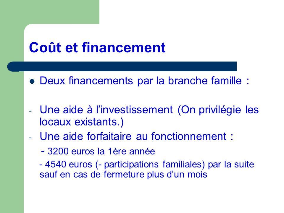Coût et financement Deux financements par la branche famille : - Une aide à linvestissement (On privilégie les locaux existants.) - Une aide forfaitai