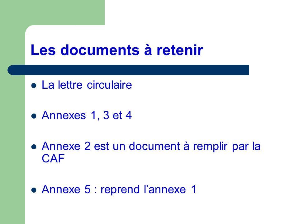Les documents à retenir La lettre circulaire Annexes 1, 3 et 4 Annexe 2 est un document à remplir par la CAF Annexe 5 : reprend lannexe 1