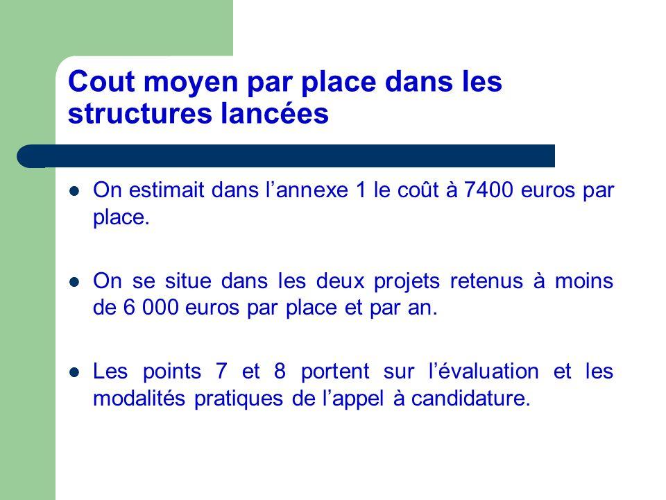 Cout moyen par place dans les structures lancées On estimait dans lannexe 1 le coût à 7400 euros par place. On se situe dans les deux projets retenus