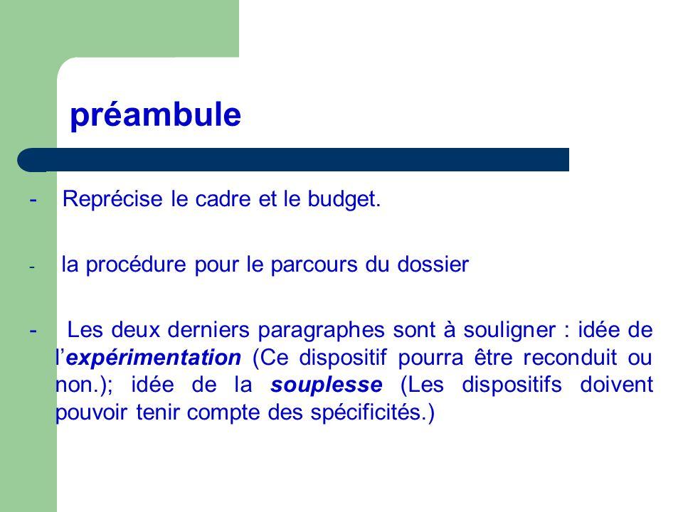 préambule - Reprécise le cadre et le budget. - la procédure pour le parcours du dossier - Les deux derniers paragraphes sont à souligner : idée de lex