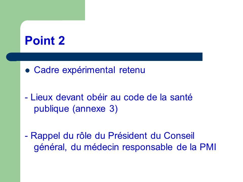 Point 2 Cadre expérimental retenu - Lieux devant obéir au code de la santé publique (annexe 3) - Rappel du rôle du Président du Conseil général, du mé