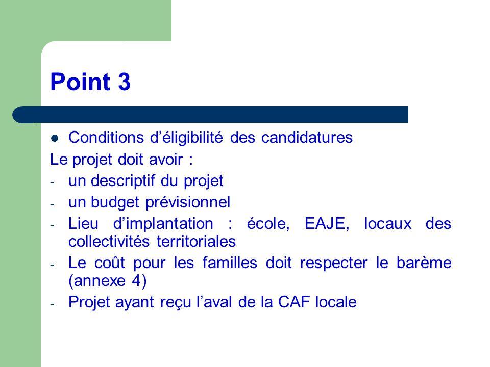 Point 3 Conditions déligibilité des candidatures Le projet doit avoir : - un descriptif du projet - un budget prévisionnel - Lieu dimplantation : écol