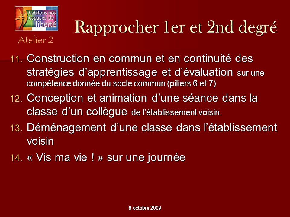 8 octobre 2009 Rapprocher 1er et 2nd degré Construction en commun et en continuité des stratégies dapprentissage et dévaluation sur une compétence don