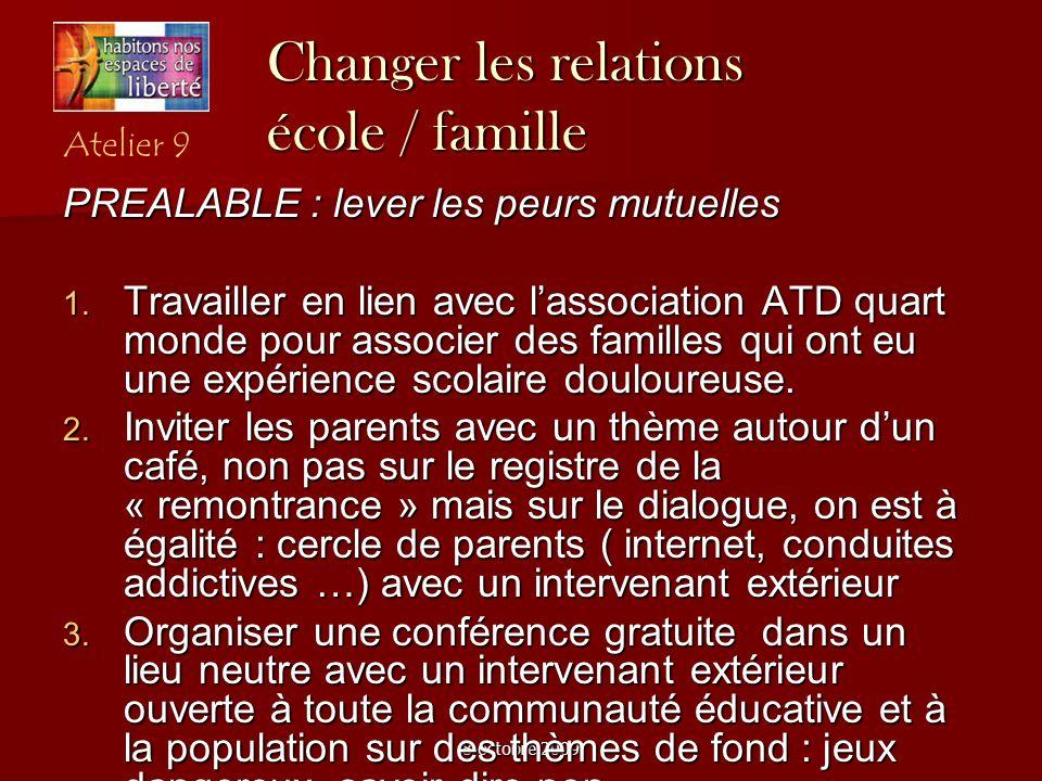 8 octobre 2009 Changer les relations école / famille PREALABLE : lever les peurs mutuelles Travailler en lien avec lassociation ATD quart monde pour a