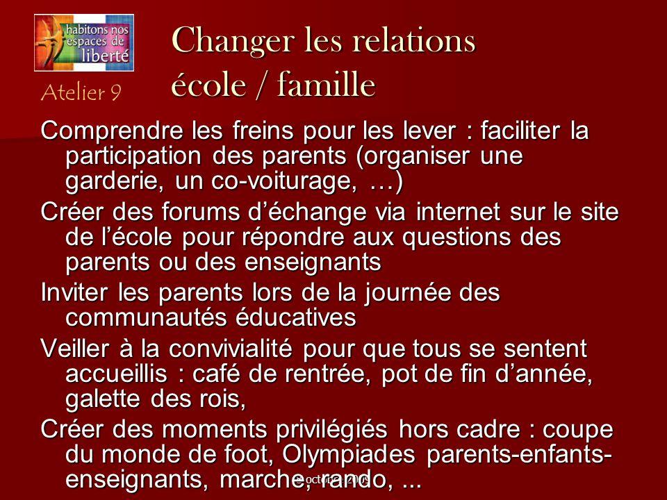8 octobre 2009 Changer les relations école / famille Comprendre les freins pour les lever : faciliter la participation des parents (organiser une gard
