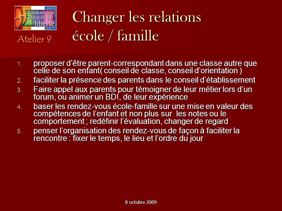 8 octobre 2009 Changer les relations école / famille proposer dêtre parent-correspondant dans une classe autre que celle de son enfant( conseil de cla