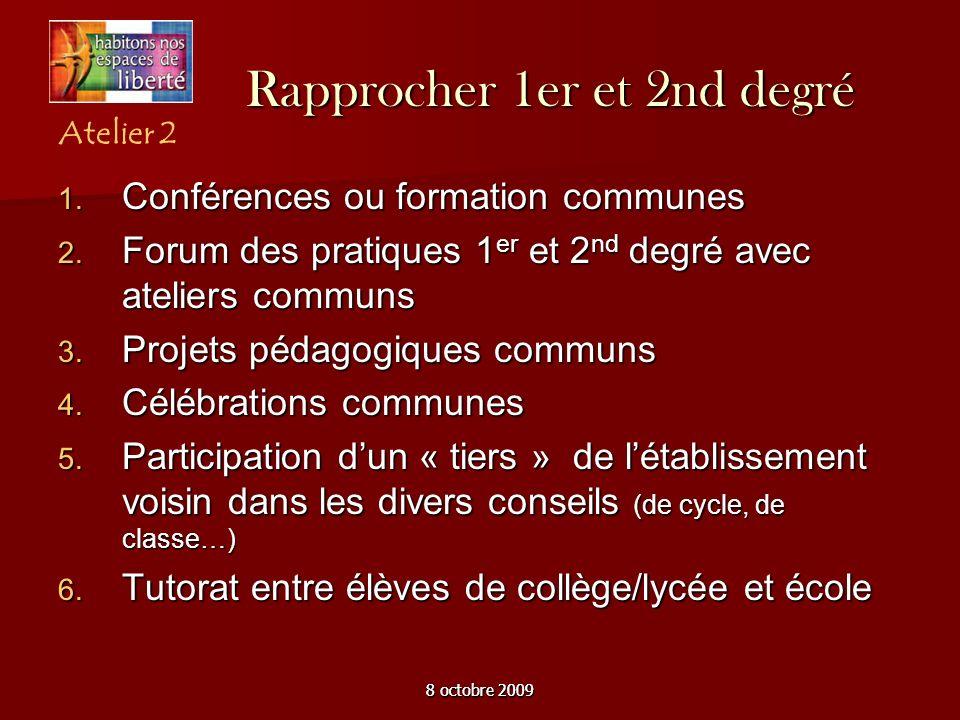 8 octobre 2009 Rapprocher 1er et 2nd degré Conférences ou formation communes Conférences ou formation communes Forum des pratiques 1 er et 2 nd degré