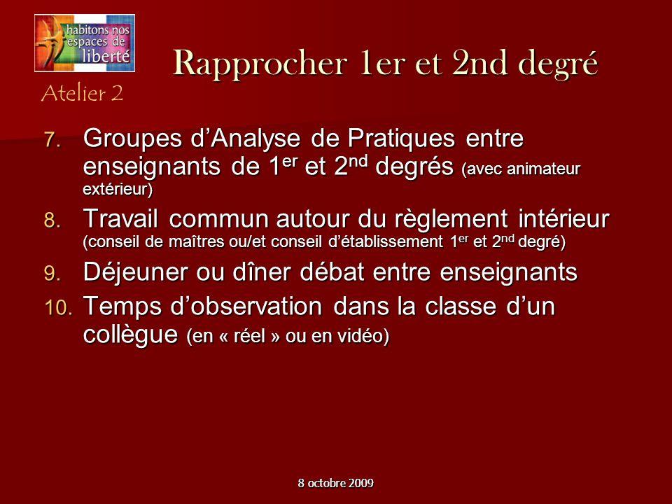 8 octobre 2009 Rapprocher 1er et 2nd degré Groupes dAnalyse de Pratiques entre enseignants de 1 er et 2 nd degrés (avec animateur extérieur) Groupes d