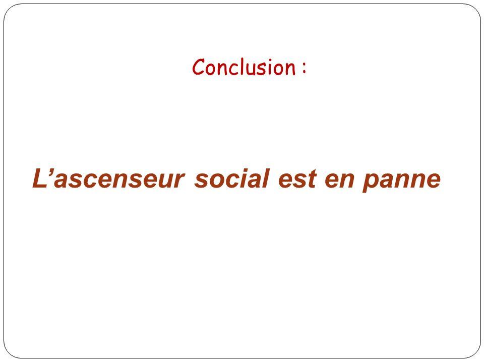 Lascenseur social est en panne Conclusion :