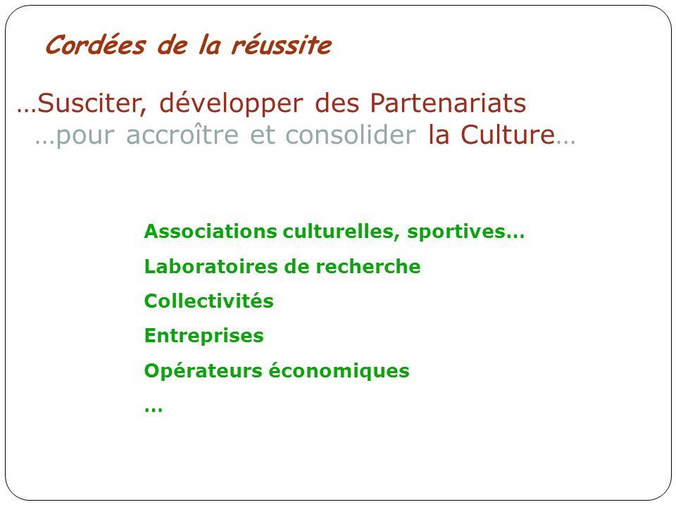 Associations culturelles, sportives… Laboratoires de recherche Collectivités Entreprises Opérateurs économiques … …Susciter, développer des Partenariats …pour accroître et consolider la Culture… Cordées de la réussite
