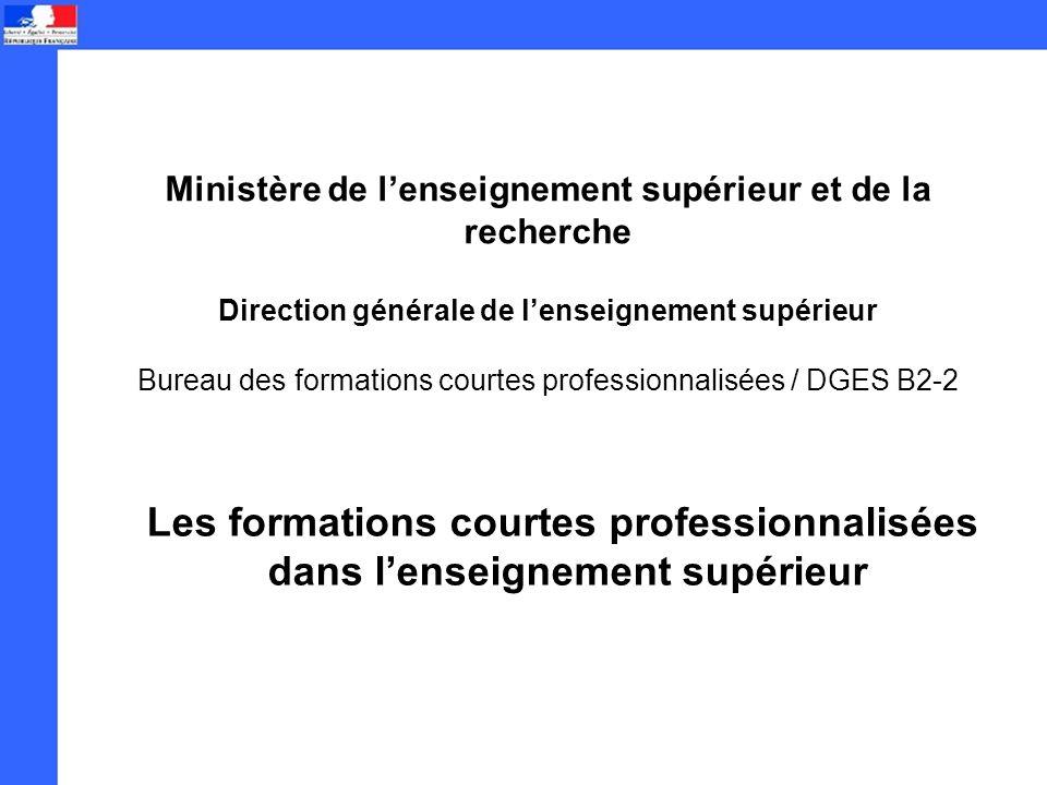 Les formations courtes professionnalisées dans lenseignement supérieur Ministère de lenseignement supérieur et de la recherche Direction générale de lenseignement supérieur Bureau des formations courtes professionnalisées / DGES B2-2